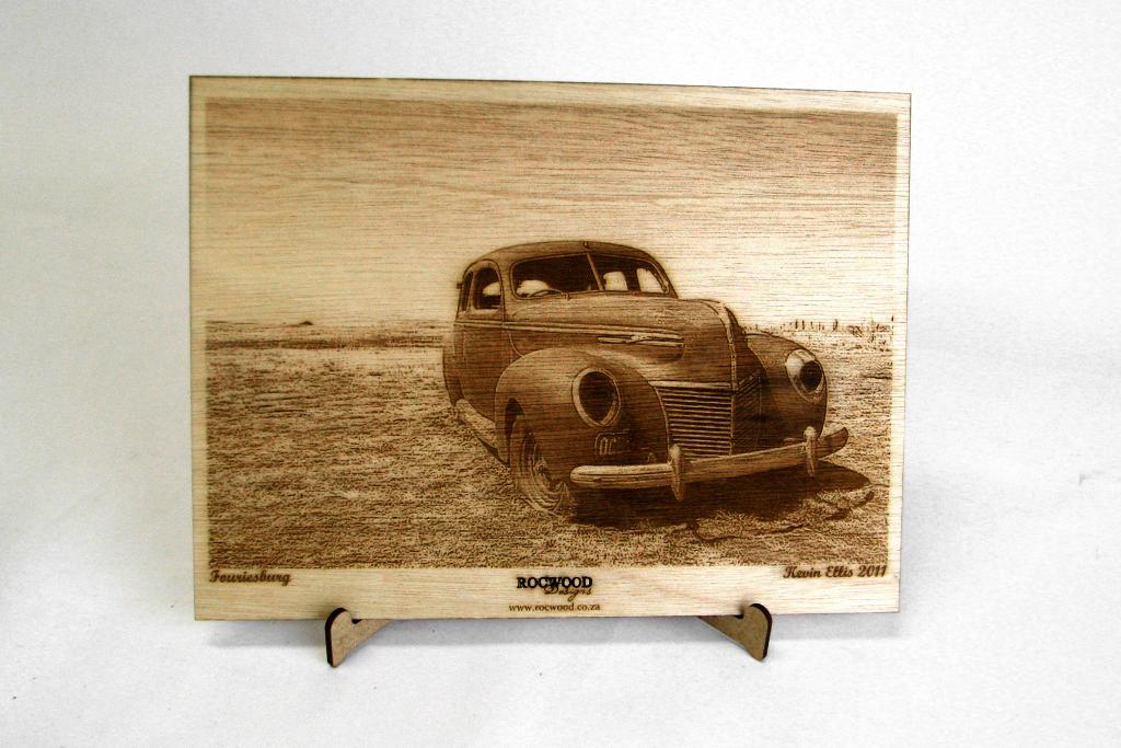 Wood etching of vintage car